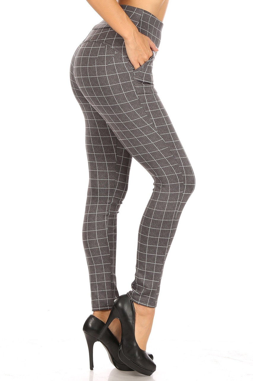 Right side image of Charcoal Grid Print High Waisted Body Sculpting Treggings with Pockets