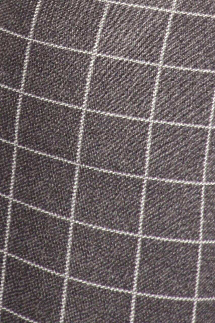 Close-up fabric swatch of Charcoal Grid Print High Waisted Body Sculpting Treggings with Pockets
