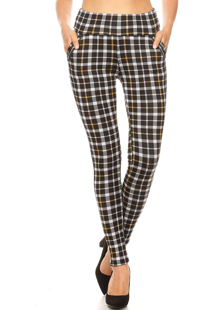 Front view of Mustard Accent Plaid High Waisted Treggings with Zipper Pockets with an all over black, white, and yellow design.