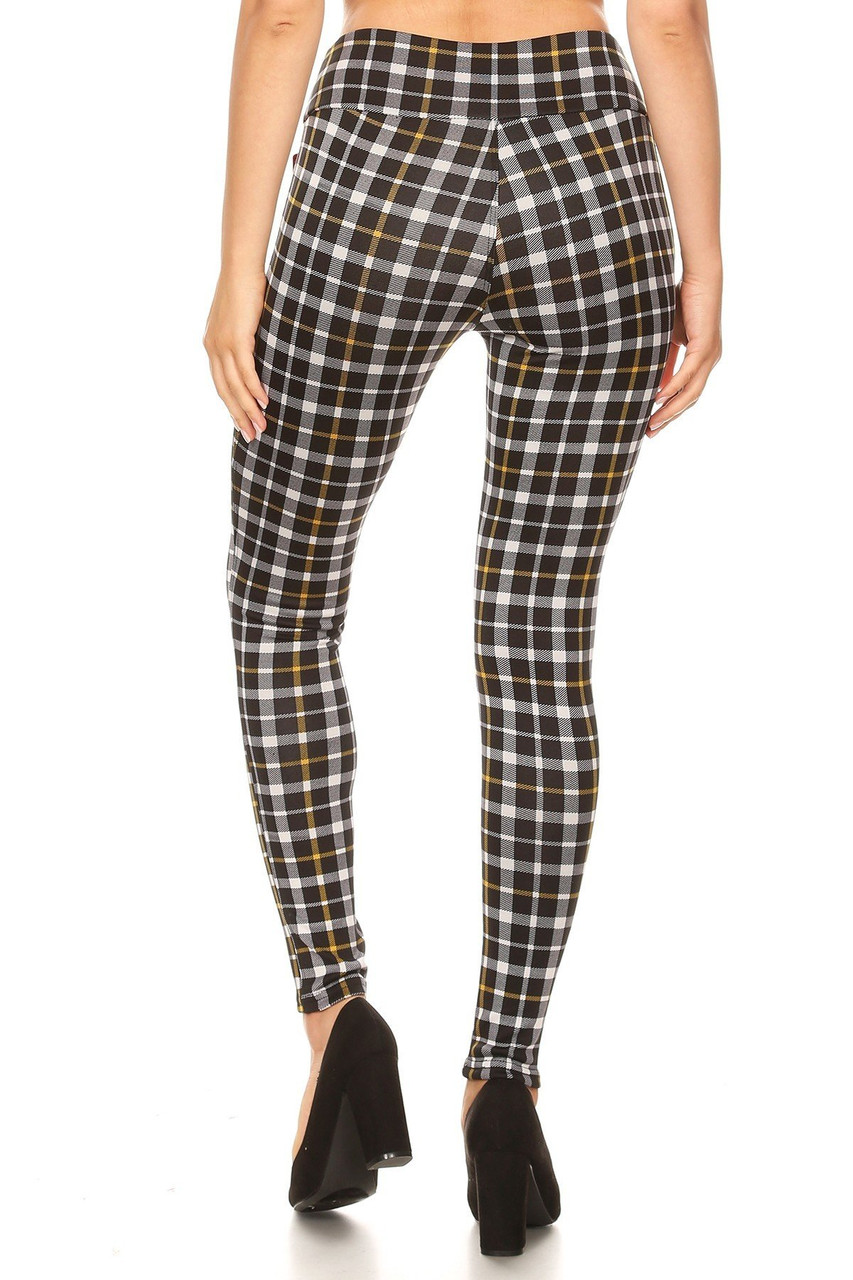 Rear view of Mustard Accent Plaid High Waisted Treggings with Zipper Pockets showing off a skinny leg fit.