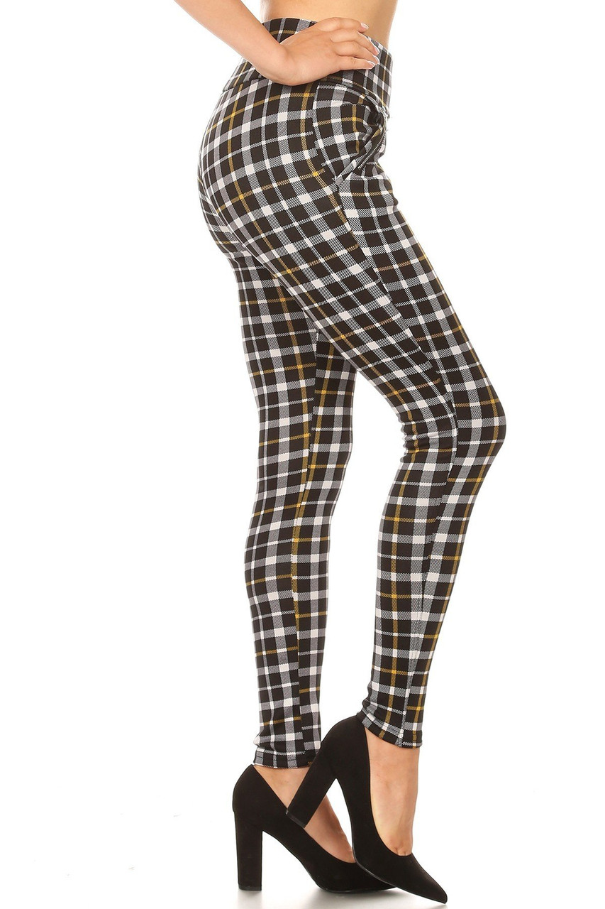 Right side of Mustard Accent Plaid High Waisted Treggings with Zipper Pockets