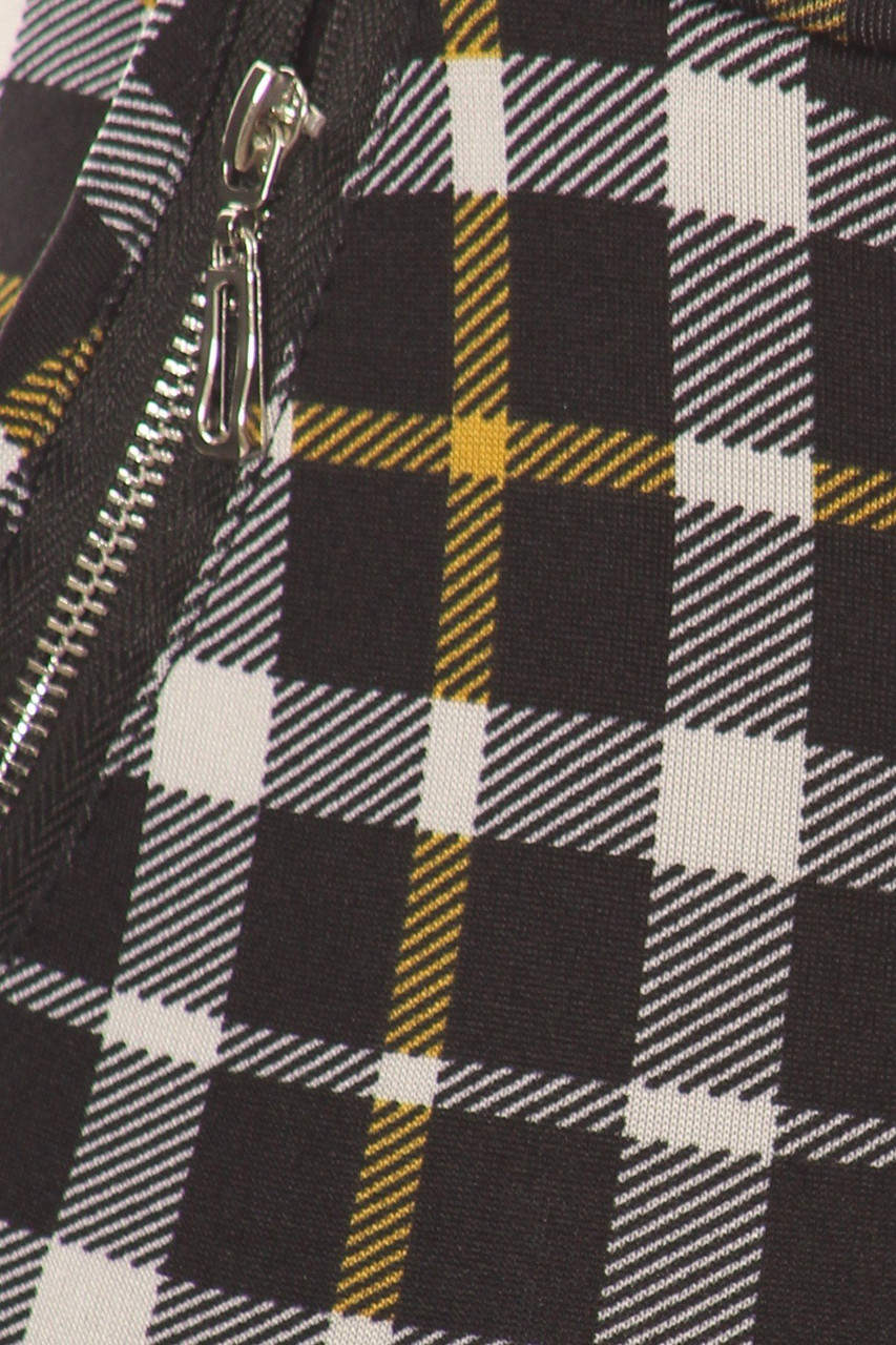 Close-up fabric swatch of Mustard Accent Plaid High Waisted Treggings with Zipper Pockets