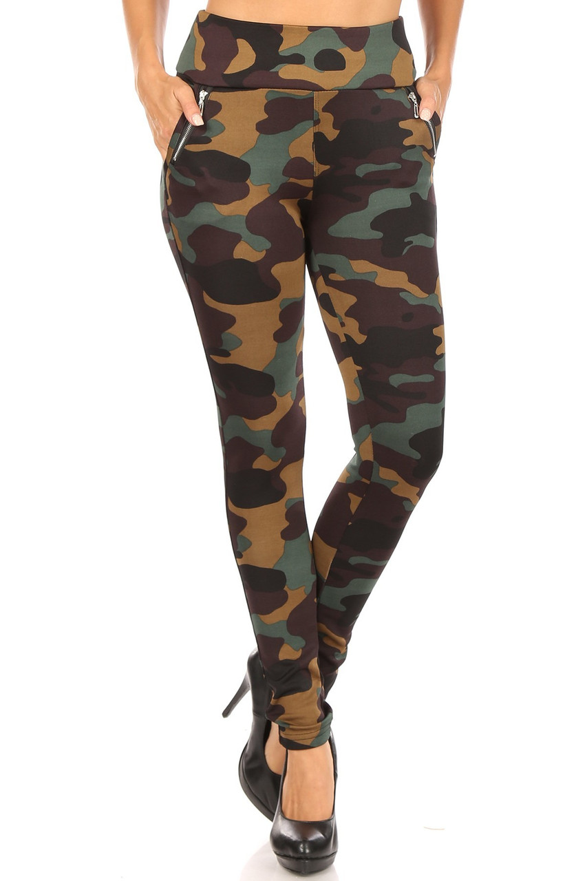 Front image of Brown Camouflage High Waisted Treggings with Zipper Accent Pockets showcasing a brown and olive army print design.
