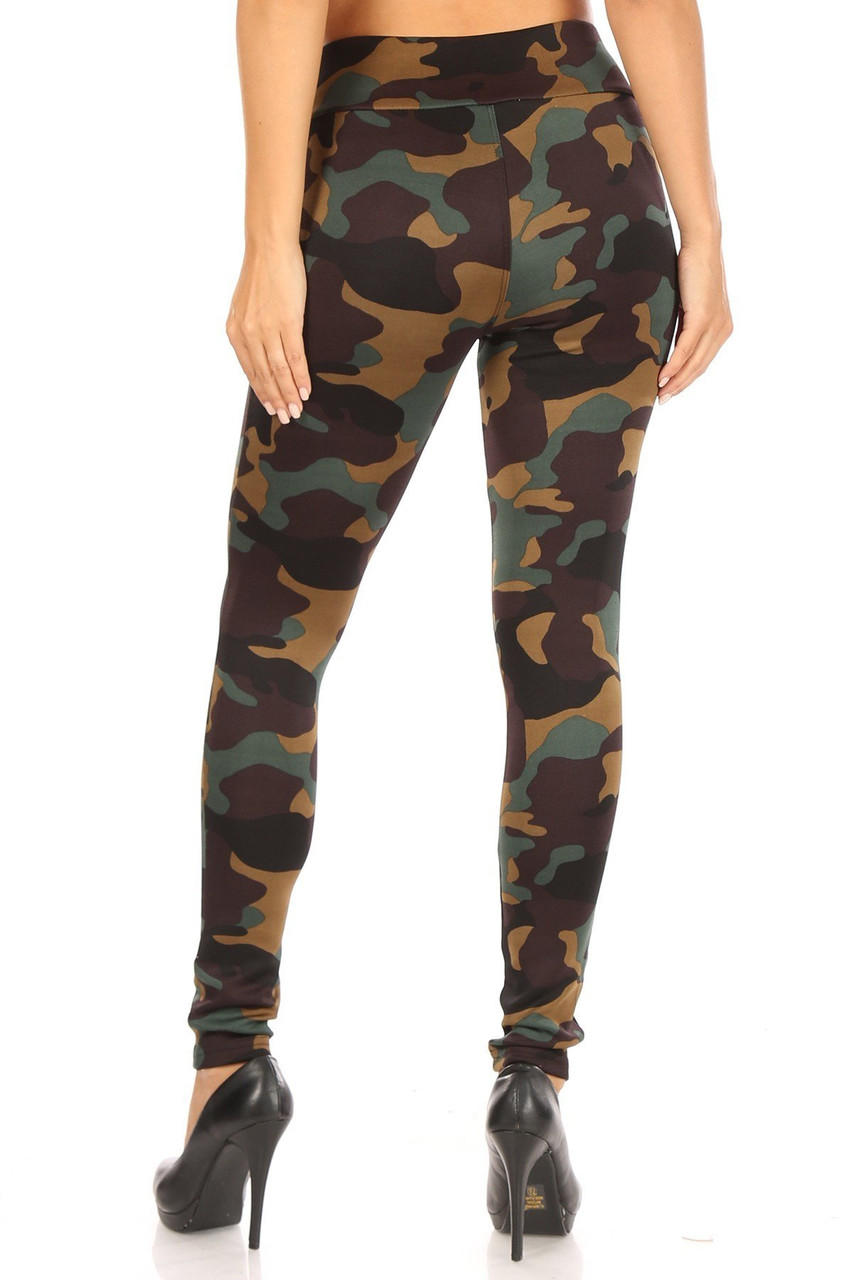 Back side image of Brown Camouflage High Waisted Treggings with Zipper Accent Pockets showing off a flattering skinny leg cut.
