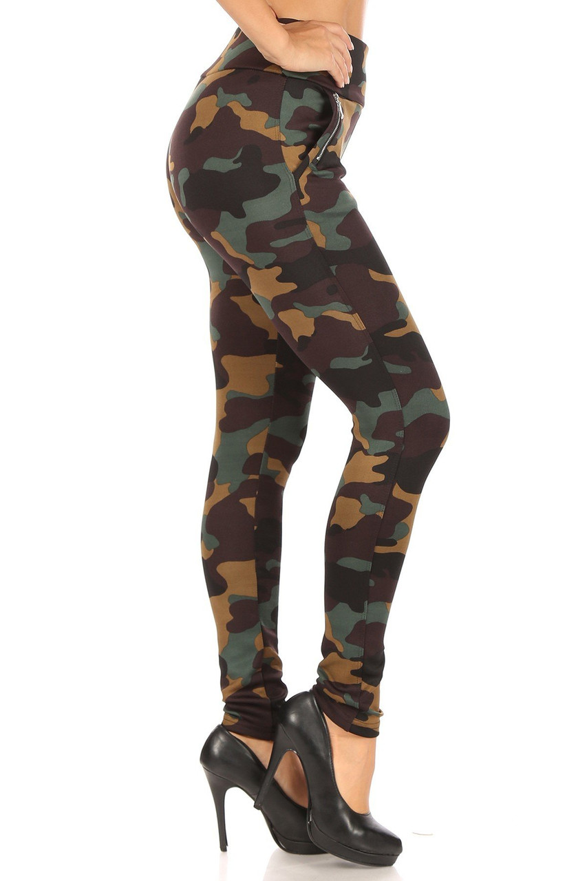 Right side image of Brown Camouflage High Waisted Treggings with Zipper Accent Pockets