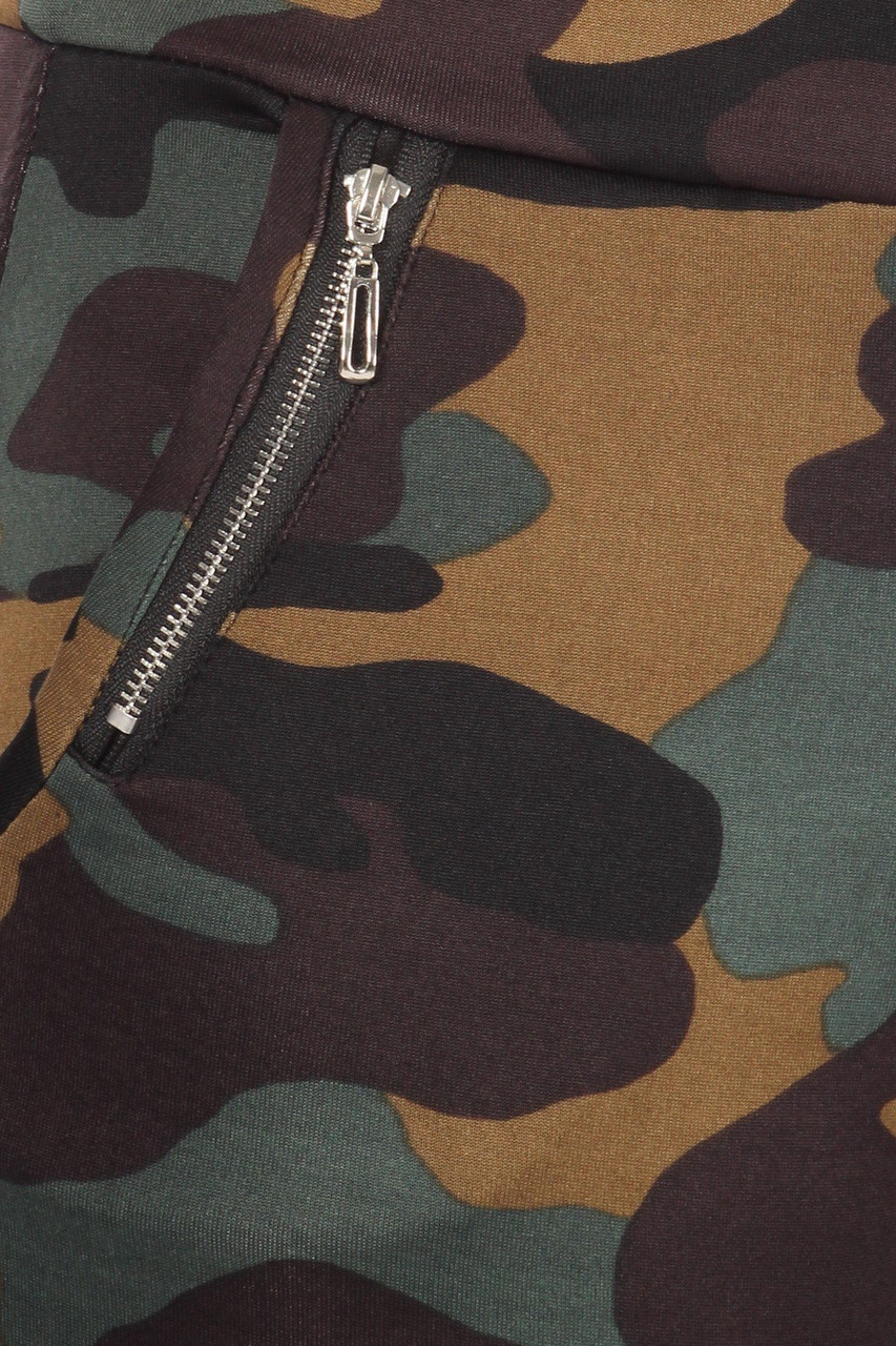 Close-up fabric swatch of Brown Camouflage High Waisted Treggings with Zipper Accent Pockets