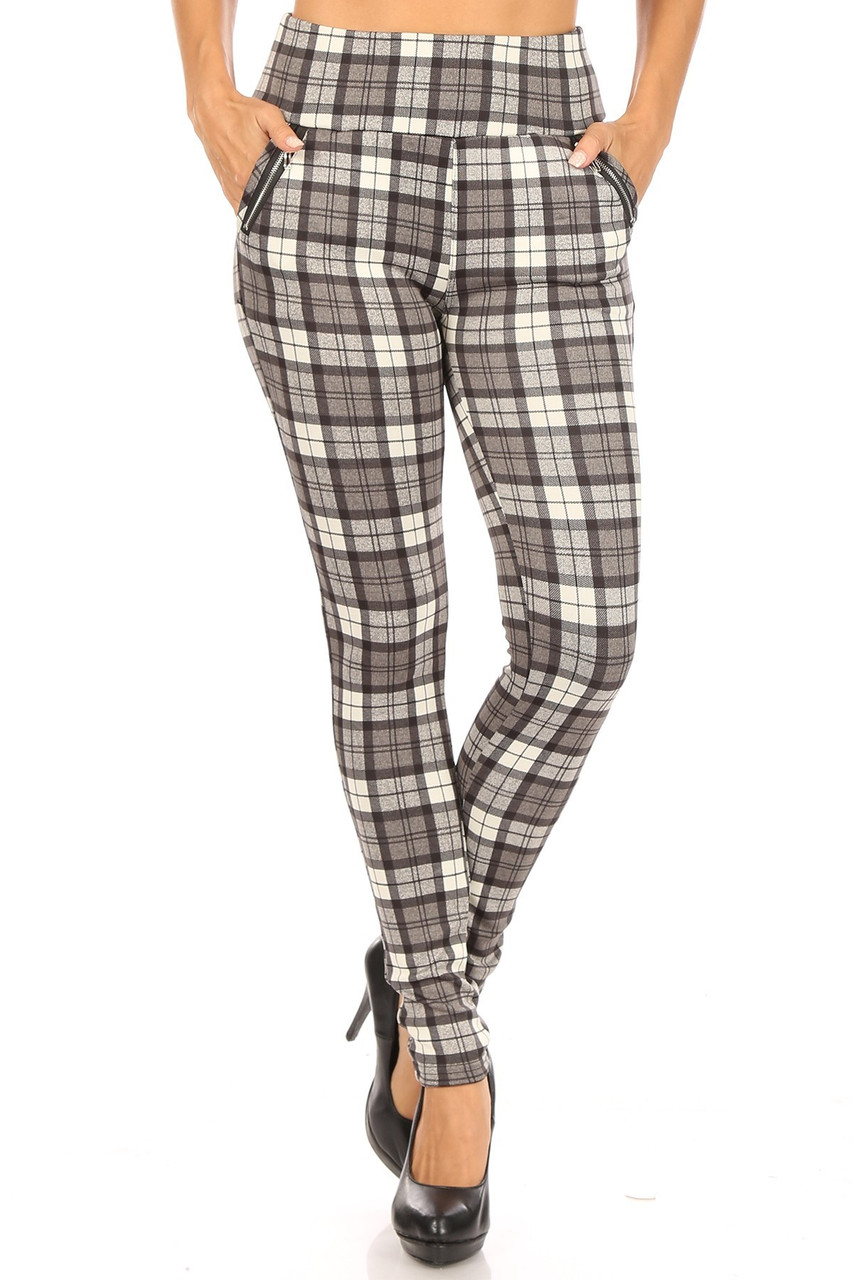 Front image of Monochrome Plaid High Waisted Treggings with Zipper Accent Pockets with an all over black white and gray design.