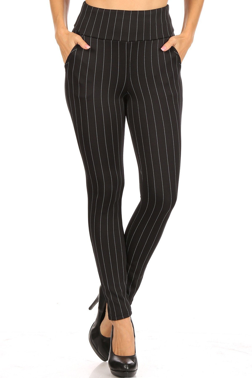 Front view of Black and White Pinstripe High Waisted Body Sculpting Treggings with Pockets with a flattering thin vertical stripe design.