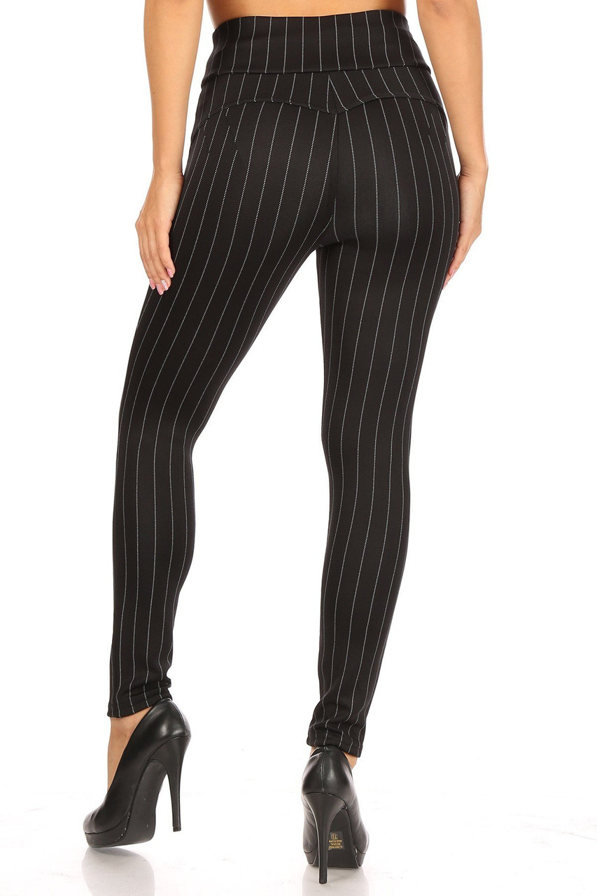 Rear view of Black and White Pinstripe High Waisted Body Sculpting Treggings with Pockets with a skinny leg fit.