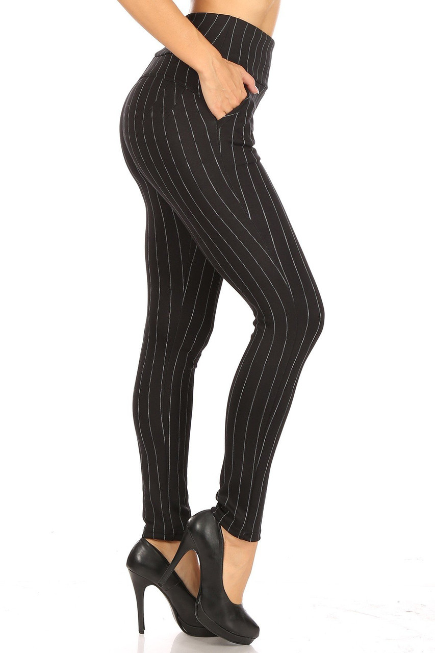 Right side of Black and White Pinstripe High Waisted Body Sculpting Treggings with Pockets