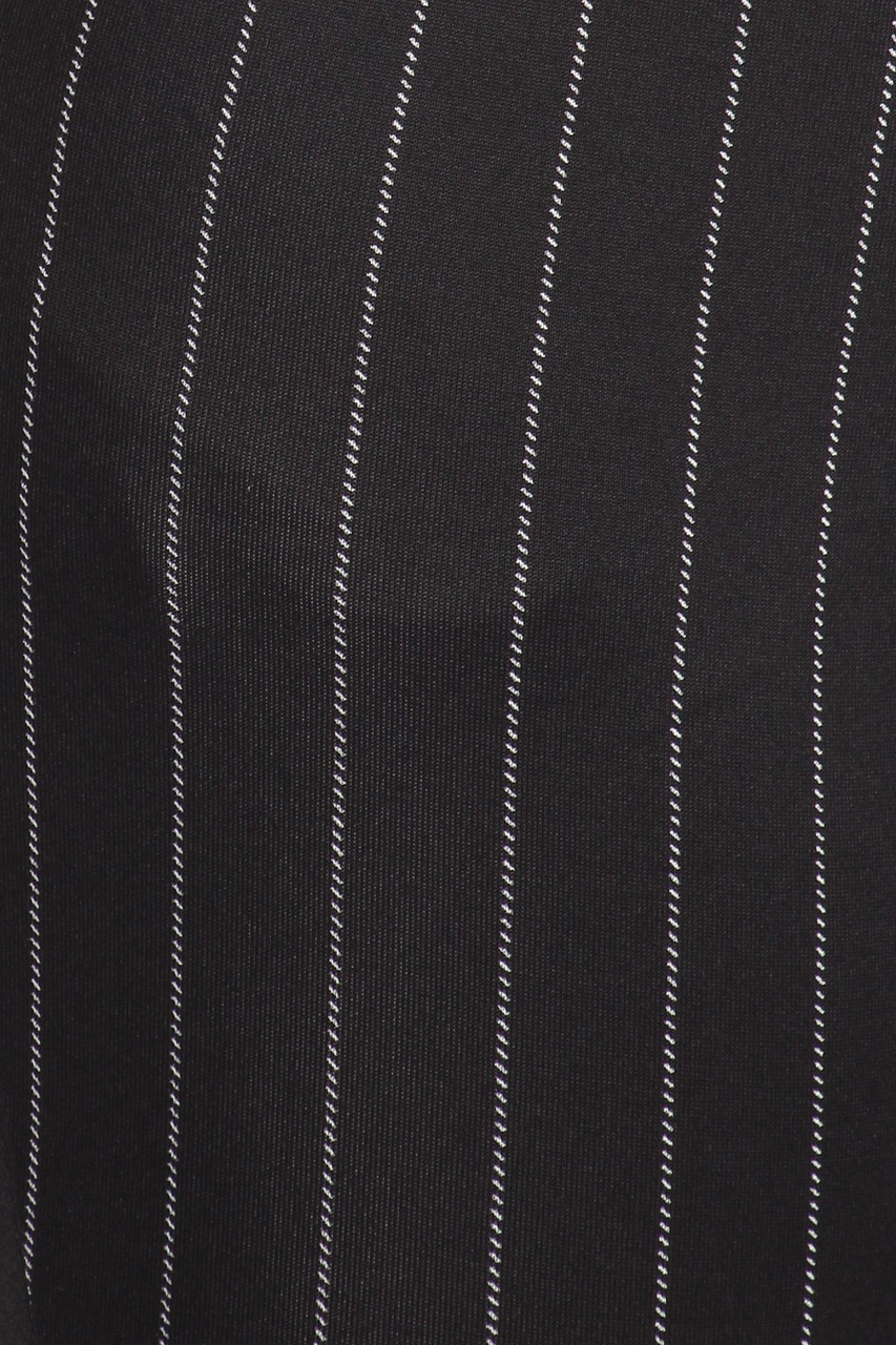 Close-up fabric swatch of Black and White Pinstripe High Waisted Body Sculpting Treggings with Pockets