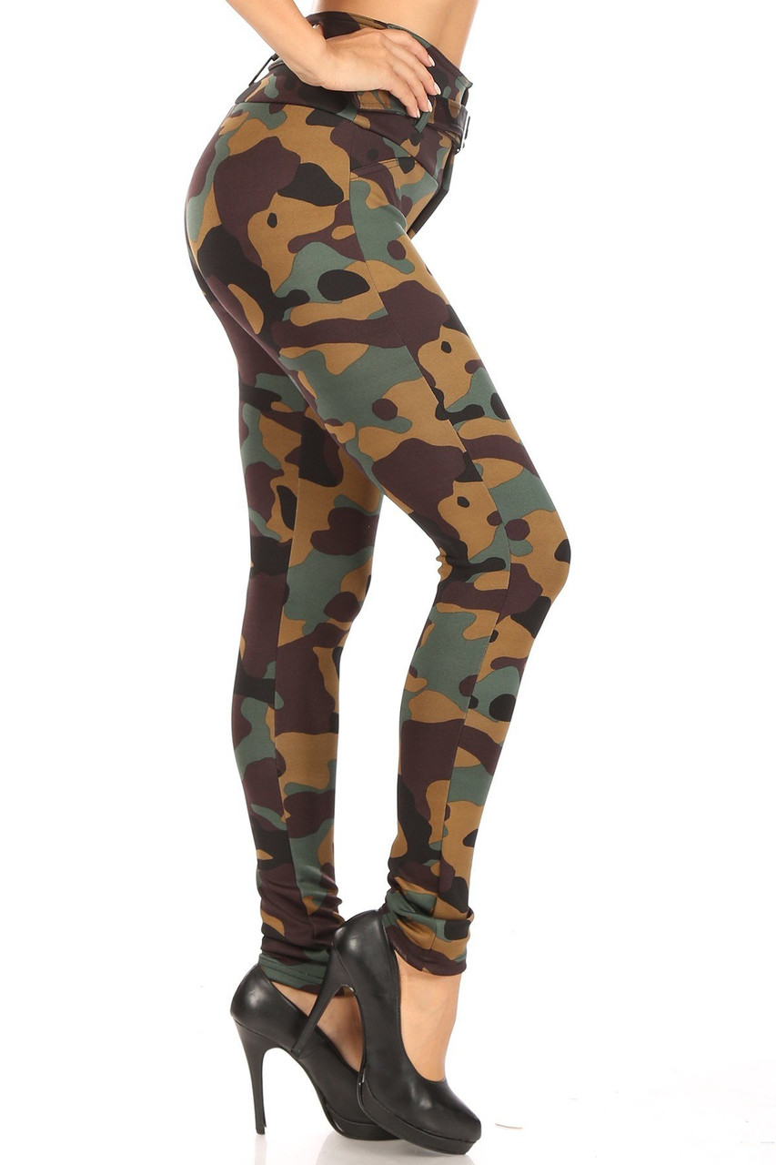 Right side of Brown Camouflage High Waist Belted Treggings