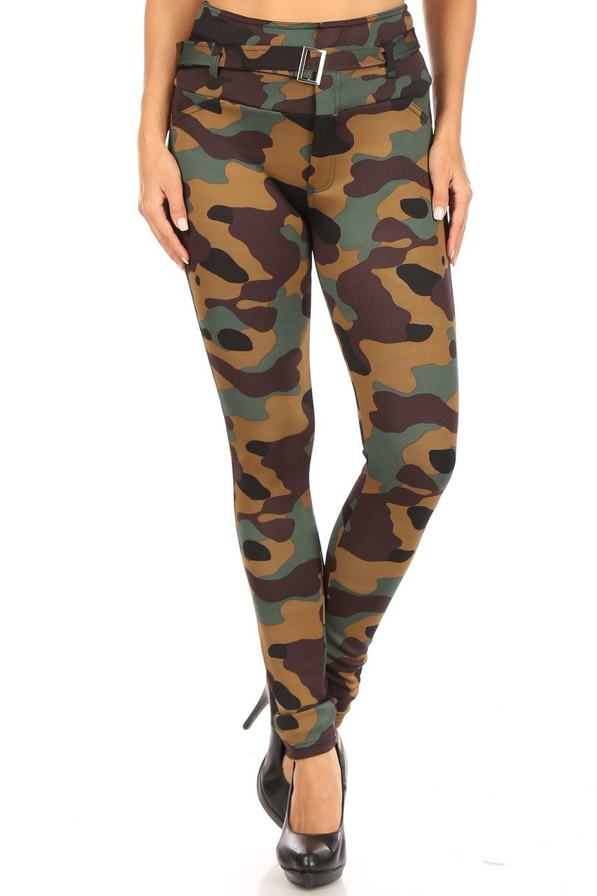 Front image of Brown Camouflage High Waist Belted Treggings