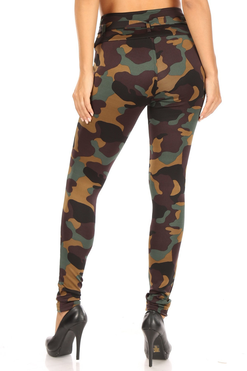 Rear view of Brown Camouflage High Waist Belted Treggings showing the body flattering skinny leg fit.