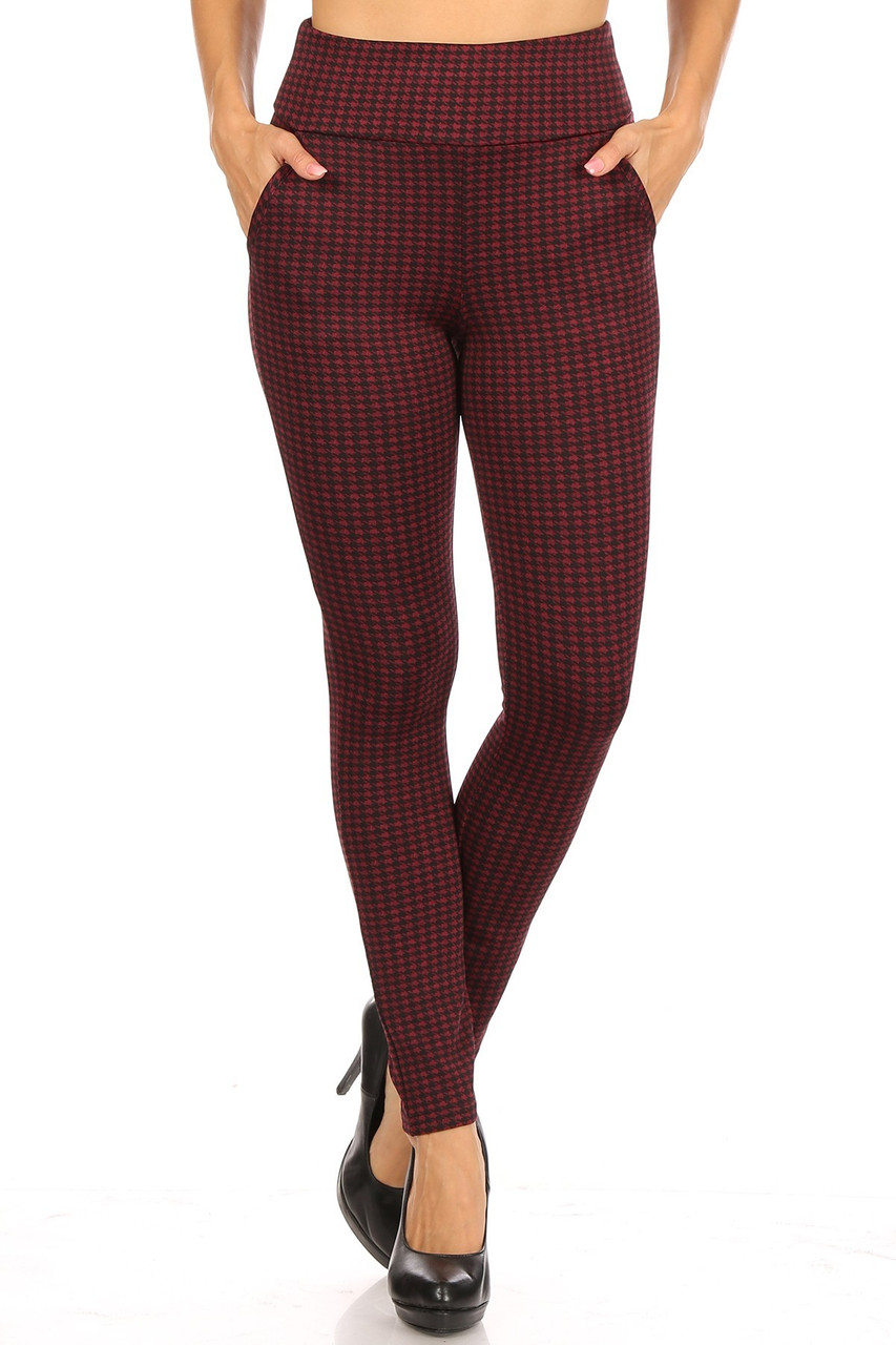 Front view of Burgundy Houndstooth High Waisted Body Sculpting Treggings with Pockets with an all over deep red and black design.