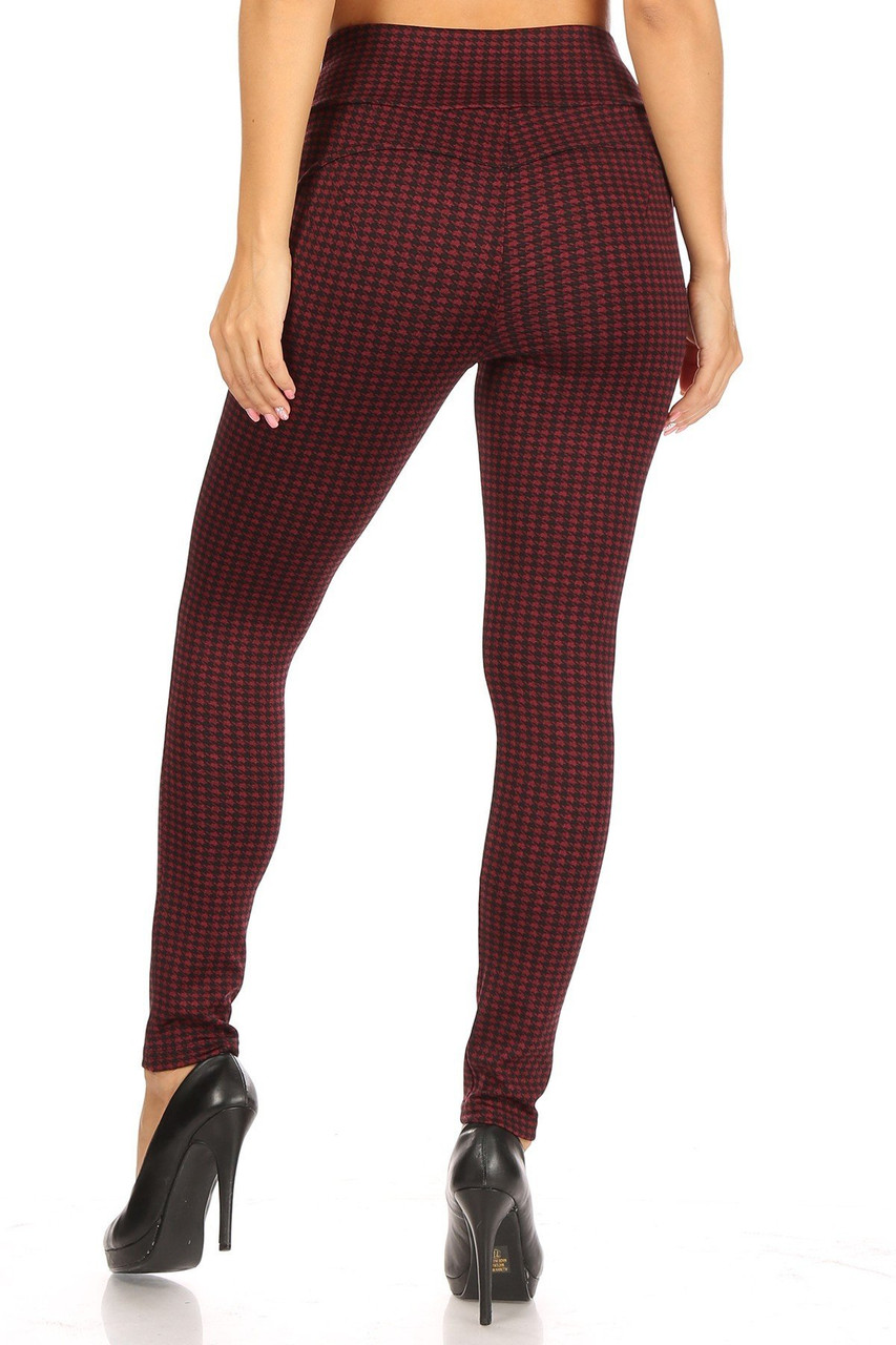 Back view of Burgundy Houndstooth High Waisted Body Sculpting Treggings with Pockets showing off the shaping an skinny leg fit.