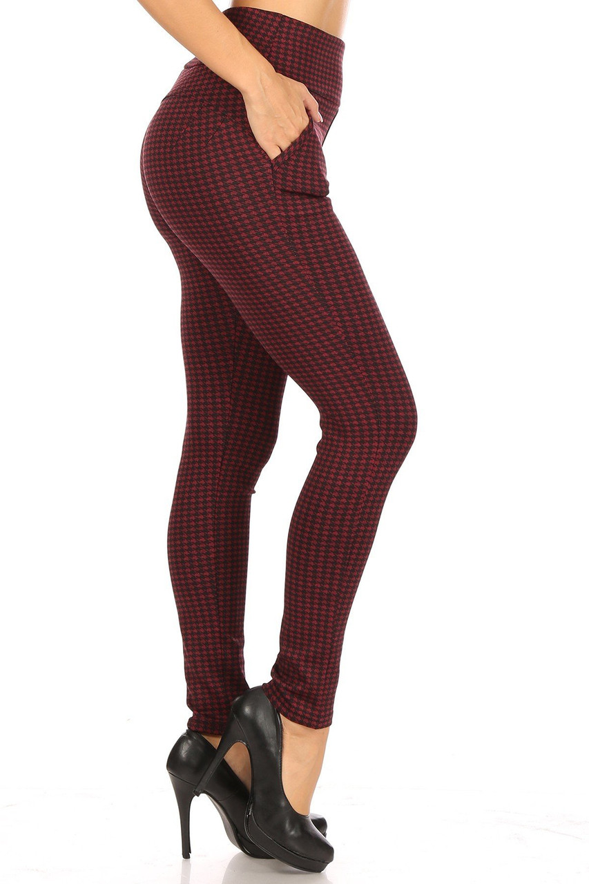Right side view of Burgundy Houndstooth High Waisted Body Sculpting Treggings with Pockets