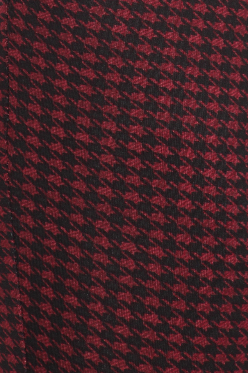 Close-up fabric swatch of Burgundy Houndstooth High Waisted Body Sculpting Treggings with Pockets