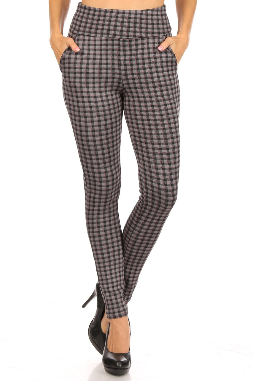 Front view of Burgundy Accent Gingham Plaid High Waist Body Sculpting Treggings with Pockets with an all over gray, black, and deep red design.