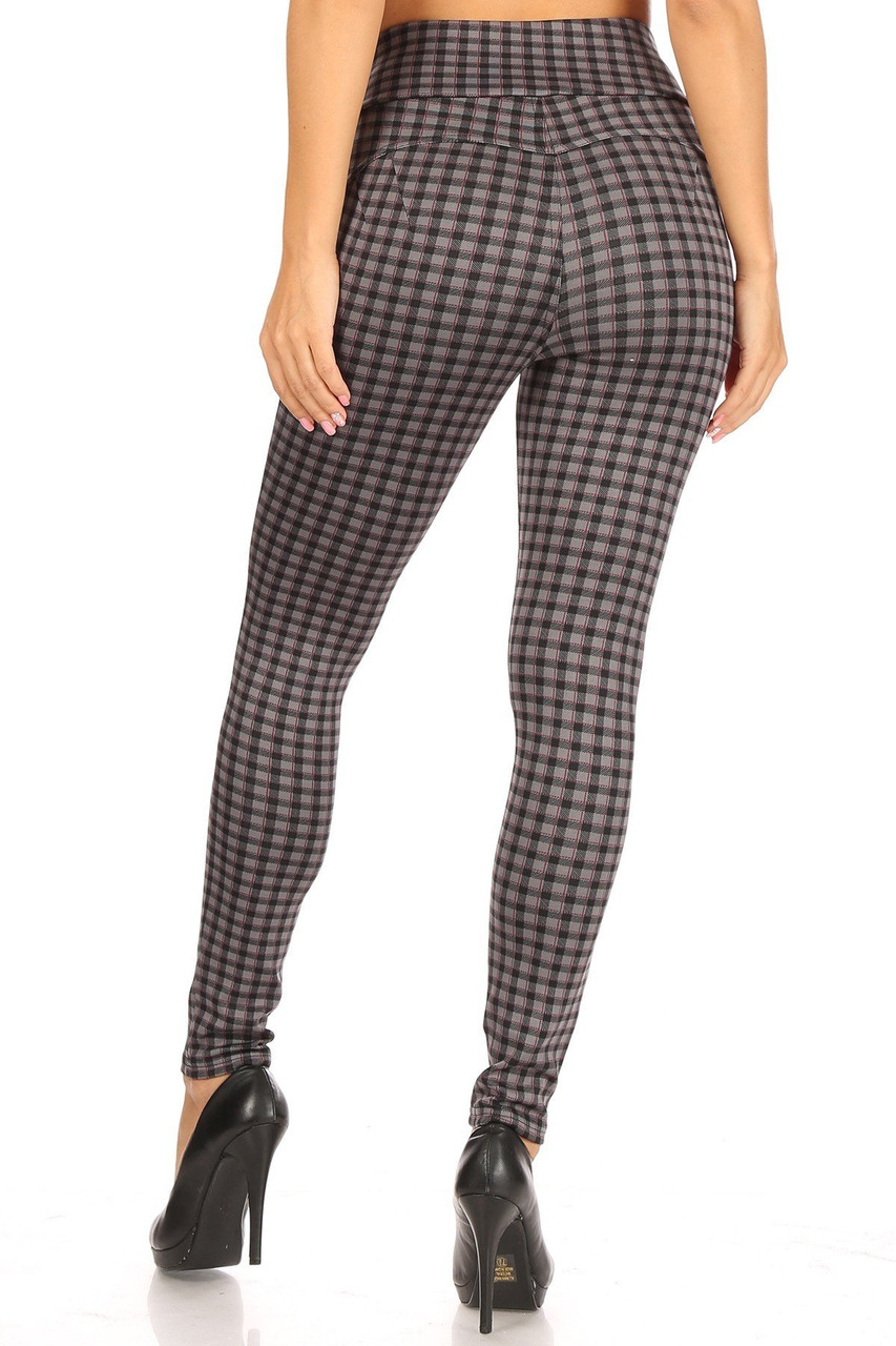Rear view of Burgundy Accent Gingham Plaid High Waist Body Sculpting Treggings with Pockets showing the fabulous shaping effect and skinny leg fit.