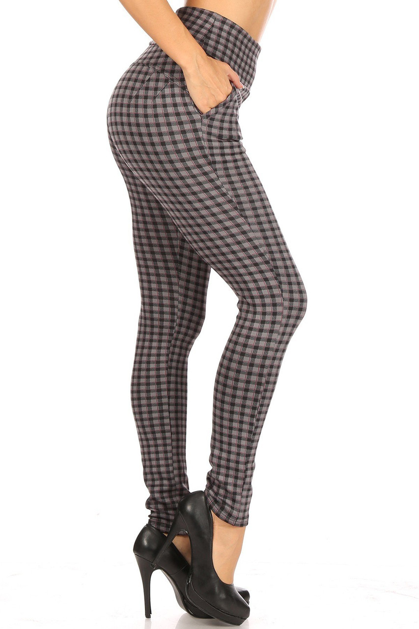 Right side of Burgundy Accent Gingham Plaid High Waist Body Sculpting Treggings with Pockets