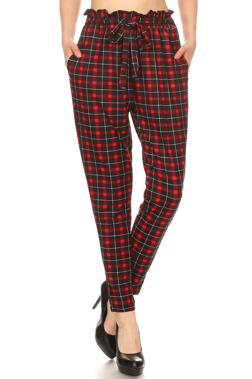 Front image of Red Plaid High Waisted Paper Bag Tie Front Pants with an all over design and an attached belted sack waist.