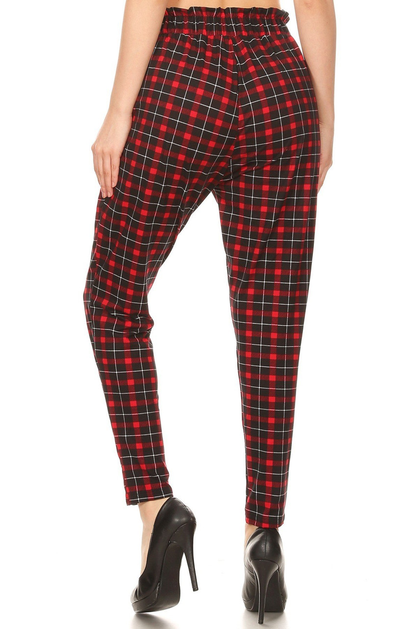 Rear view of Red Plaid High Waisted Paper Bag Tie Front Pants