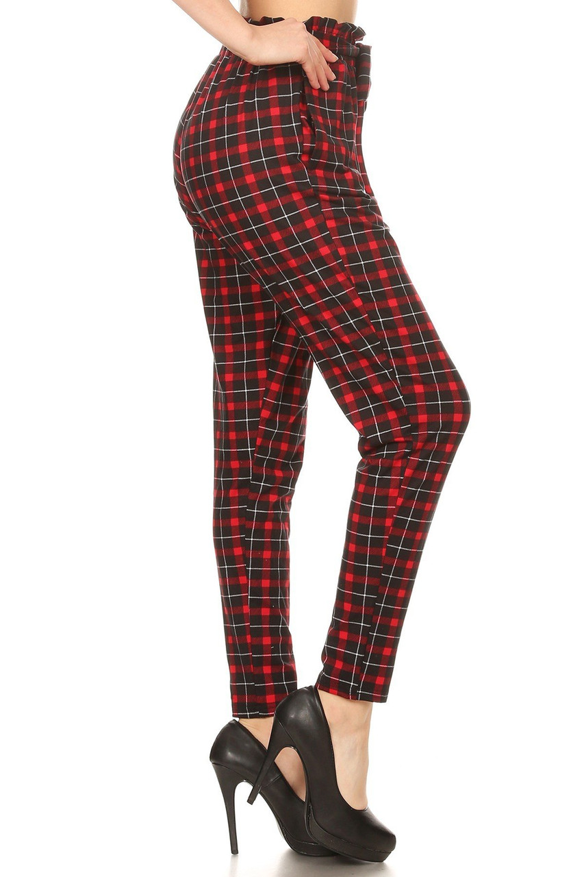 Right side of Red Plaid High Waisted Paper Bag Tie Front Pants