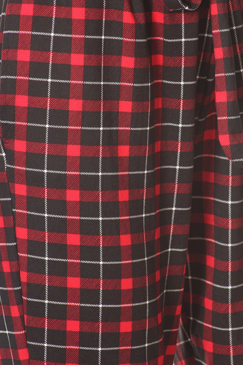 Close up of Red Plaid High Waisted Paper Bag Tie Front Pants