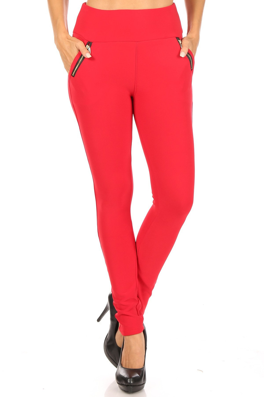 From image of Red High Waisted Treggings with Zipper Accent Pockets with a solid colored vibrant look