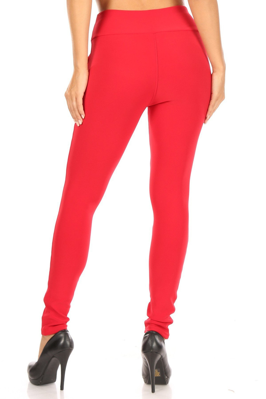 Rear view of Red High Waisted Treggings with Zipper Accent Pockets showing off the skinny leg fit.