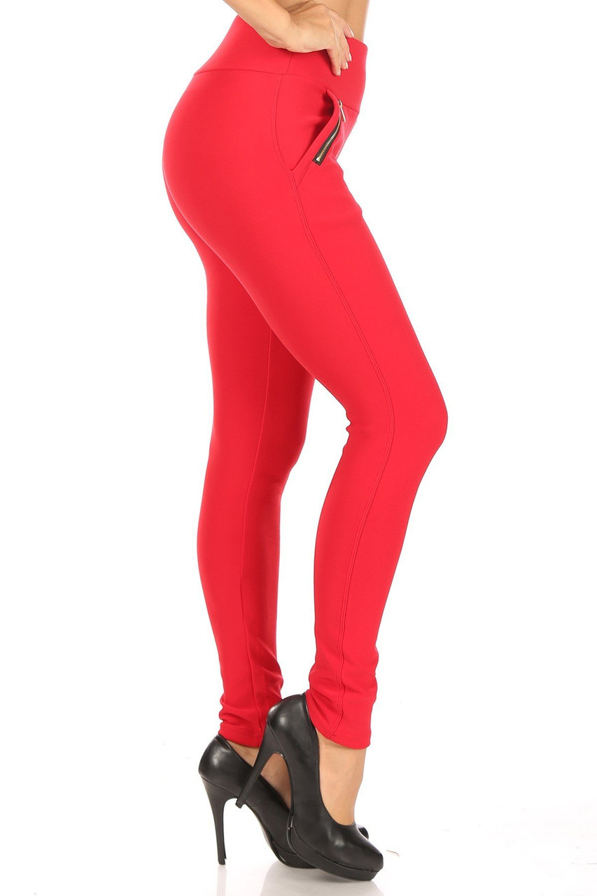 Right side image of Red High Waisted Treggings with Zipper Accent Pockets