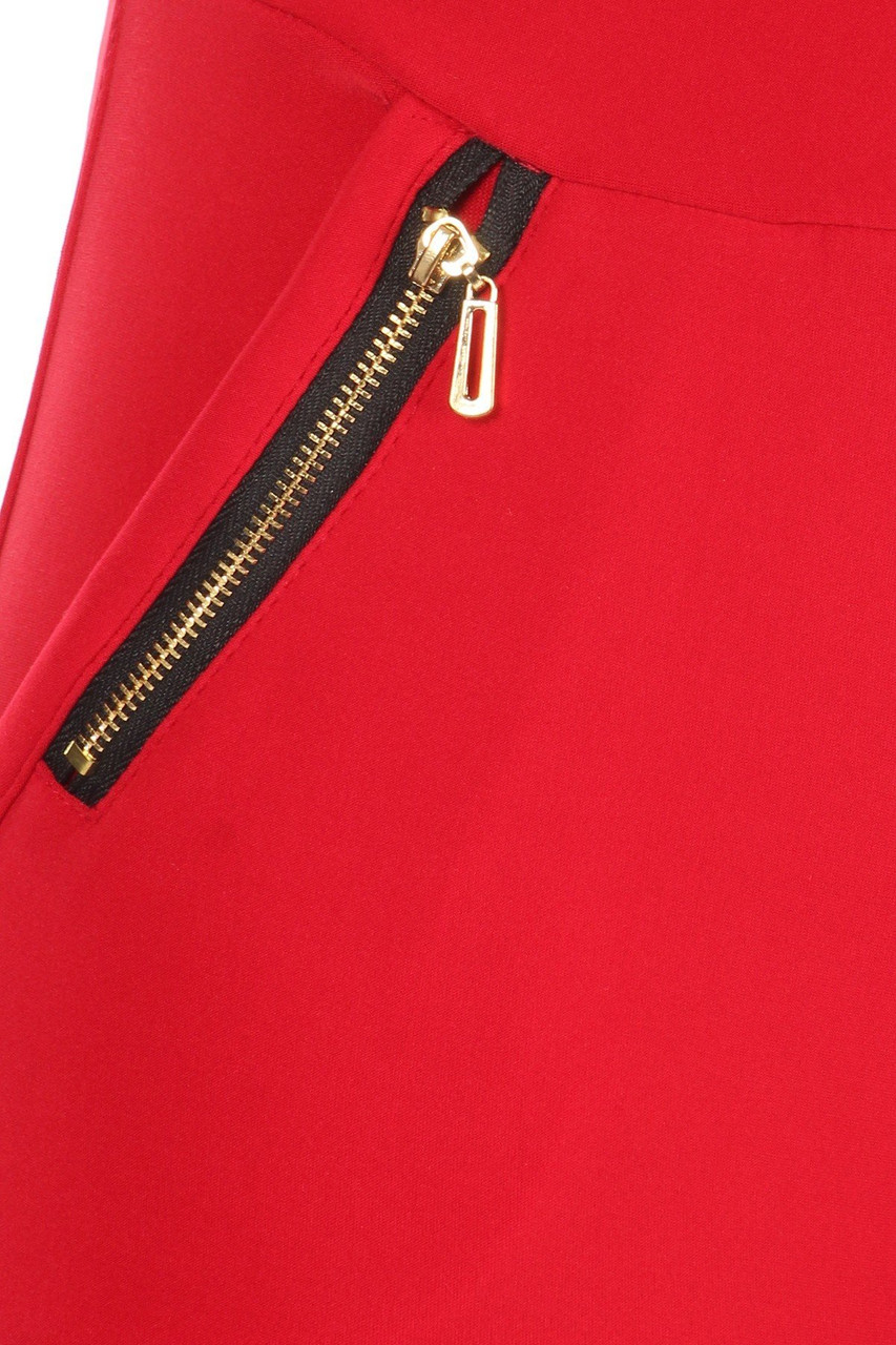 Close up of zipper on Red High Waisted Treggings with Zipper Accent Pockets