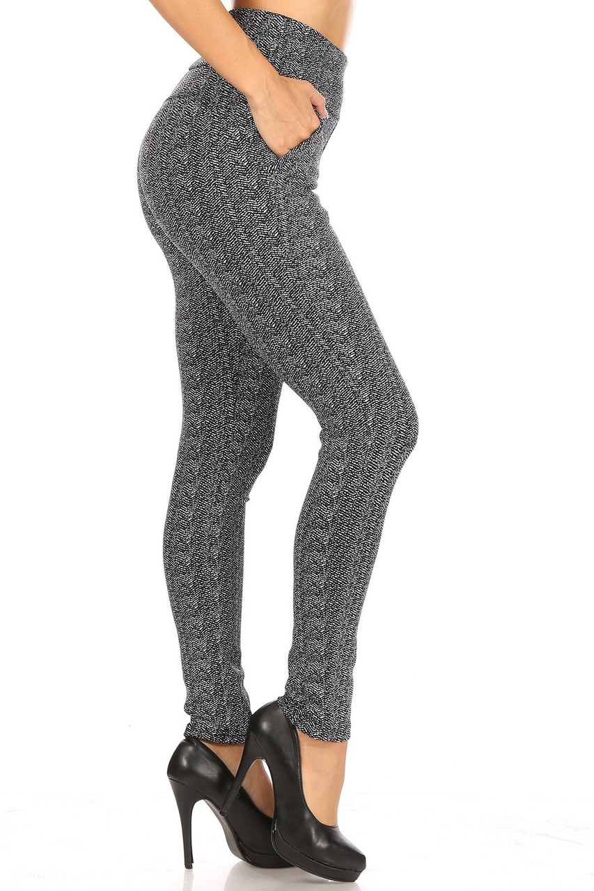 Right side of Crackled Zigzag High Waisted Body Sculpting Treggings with Pockets