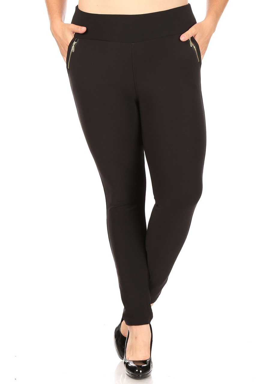 Front of Black High Waisted Plus Size Treggings with Zipper Accent Pockets with a sleek solid black look.