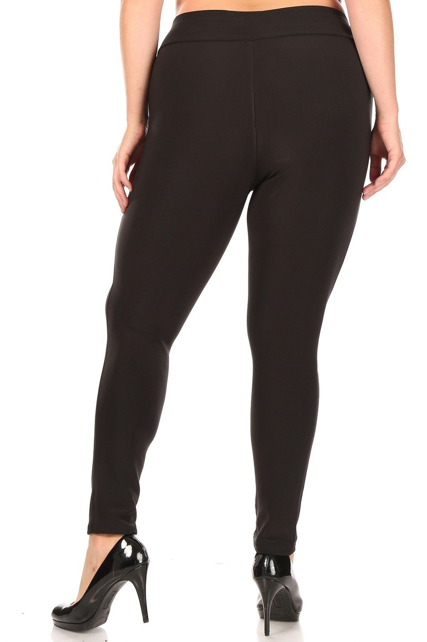 Back side image of Black High Waisted Plus Size Treggings with Zipper Accent Pockets with a skinny leg fit.