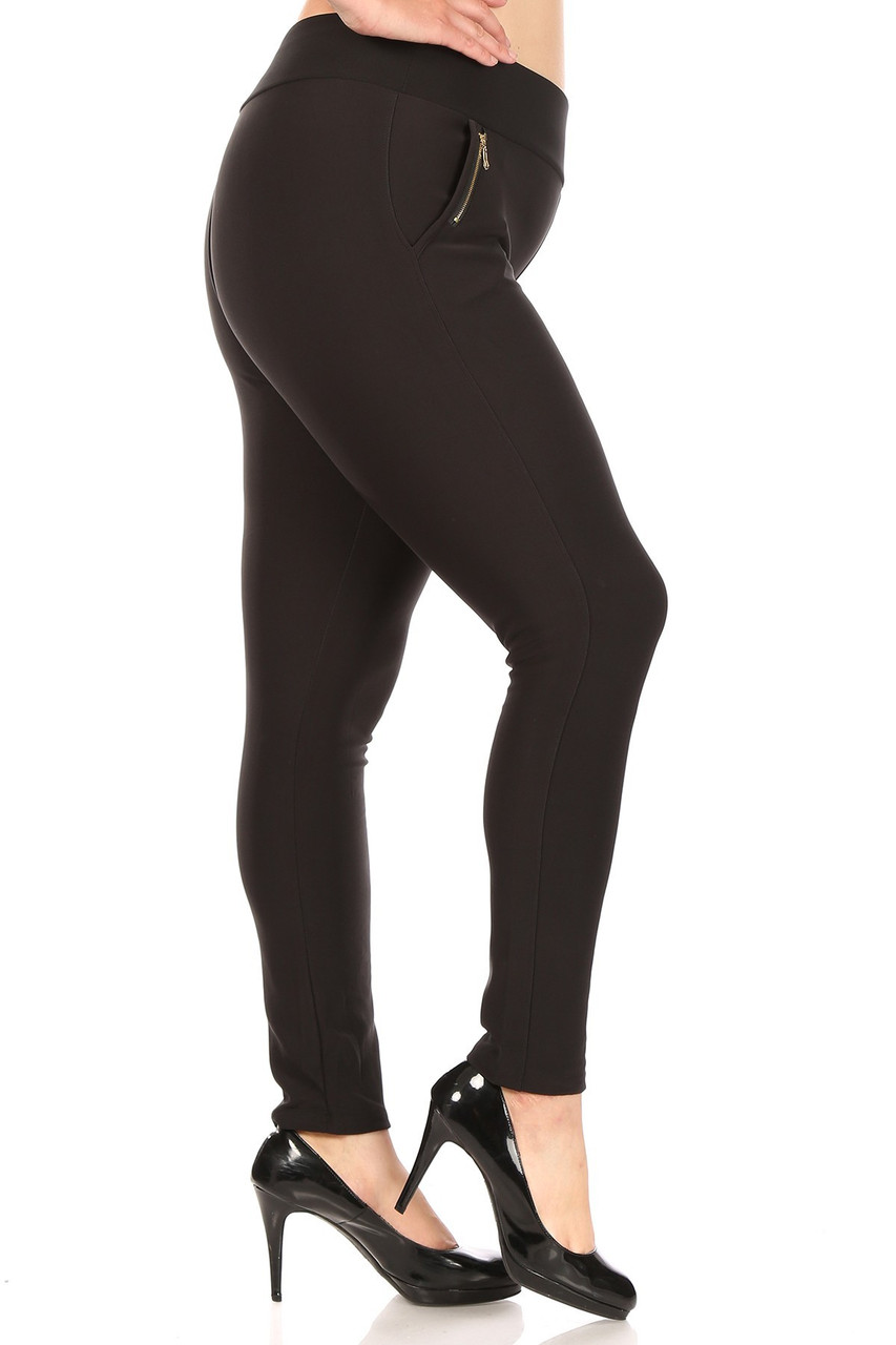 Right side of Black High Waisted Plus Size Treggings with Zipper Accent Pockets
