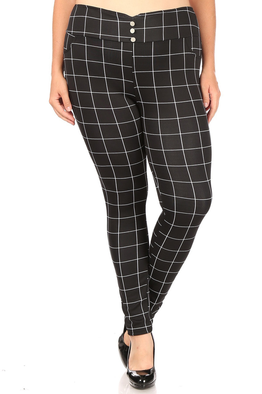 Front view of High Waisted Grid Print Button Detail Plus Size Treggings with Pockets showing off the versatile black and white grid design and three button front accent.