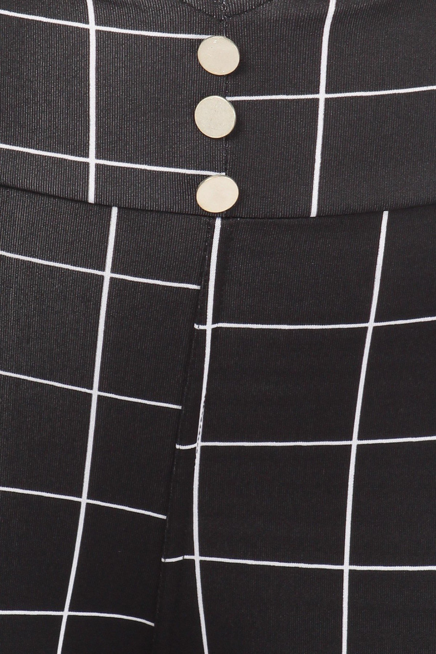 Close-up of High Waisted Grid Print Button Detail Plus Size Treggings with Pockets