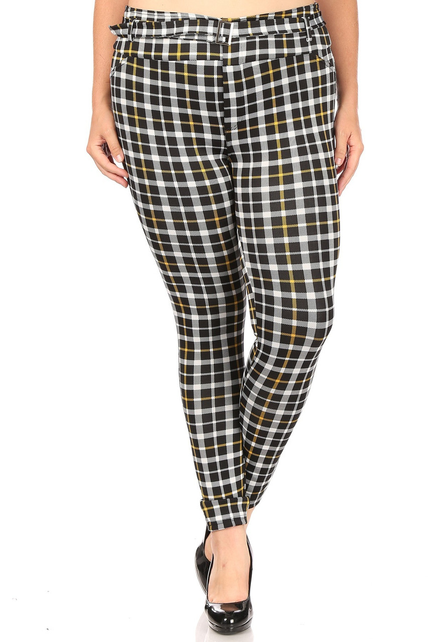 Front image of Belted Mustard Accent Plaid Plus Size Treggings with Pockets with a black, white, and yellow all over design.