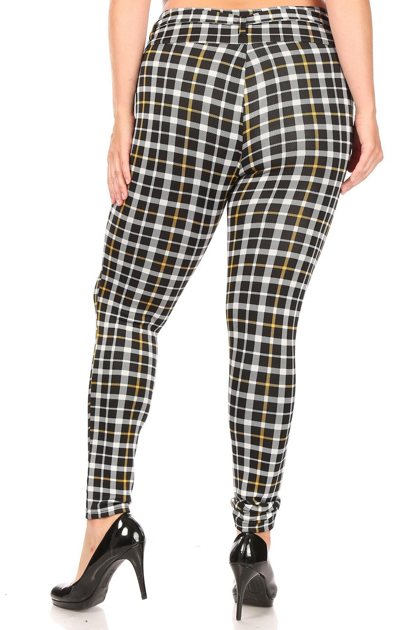 Rear view of Belted Mustard Accent Plaid Plus Size Treggings with Pockets with a skinny leg fit.