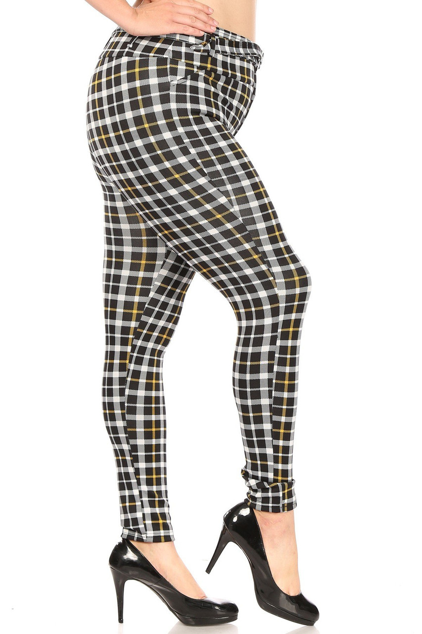 Right side of Belted Mustard Accent Plaid Plus Size Treggings with Pockets