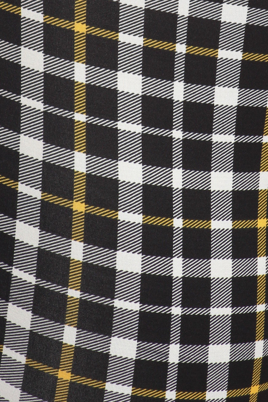 Close-up fabric image of Belted Mustard Accent Plaid Plus Size Treggings with Pockets