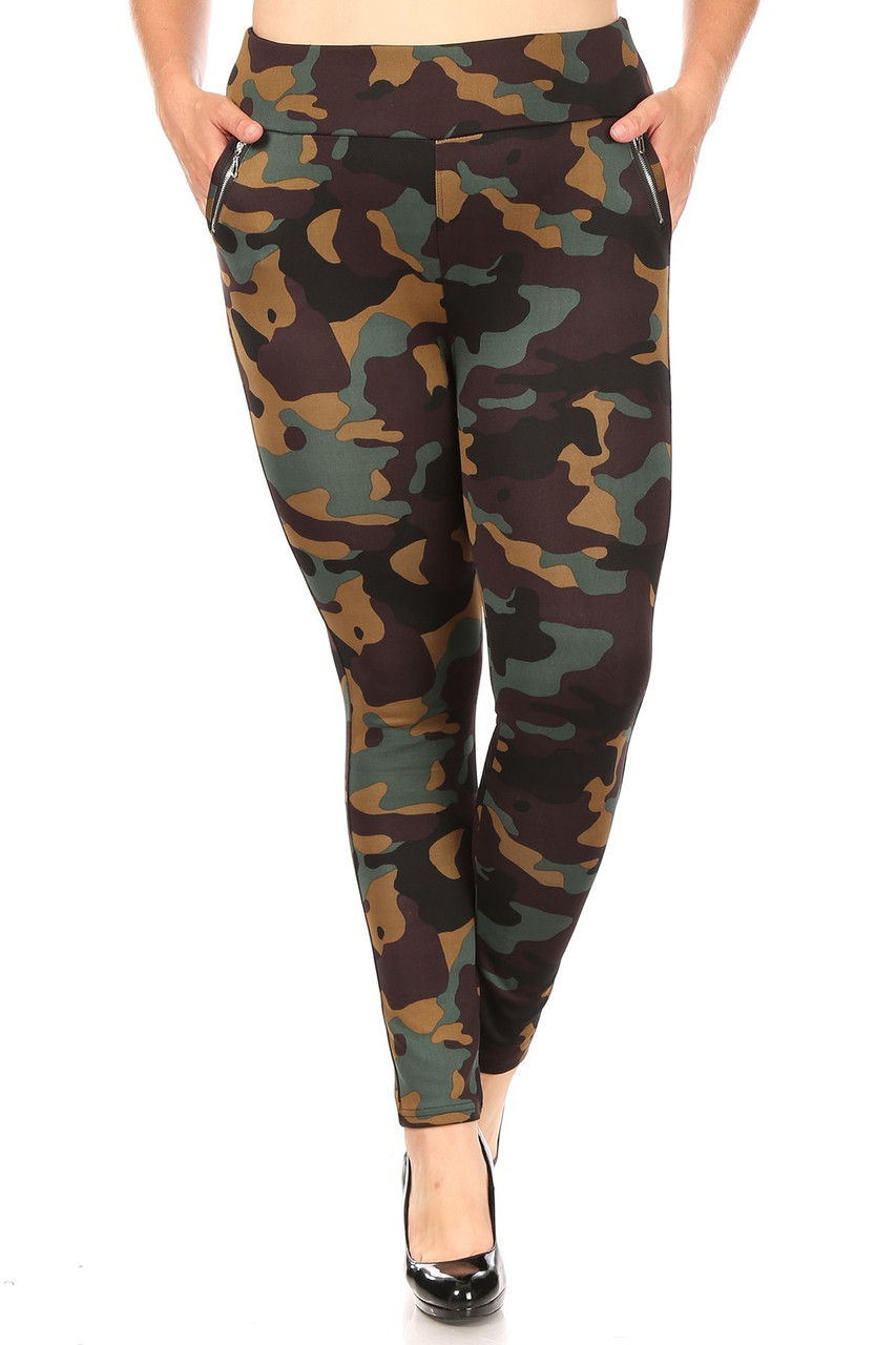 Front image of Brown Camouflage High Waisted Plus Size Treggings with Zipper Accent Pockets with an all over brown and olive army print design.