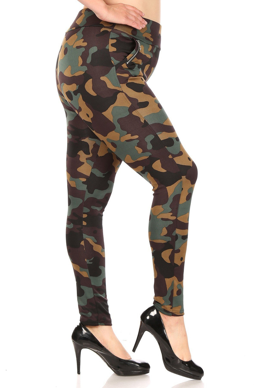 Right side of Brown Camouflage High Waisted Plus Size Treggings with Zipper Accent Pockets