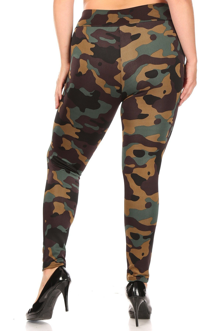 Back of skinny leg cut Brown Camouflage High Waisted Plus Size Treggings with Zipper Accent Pockets
