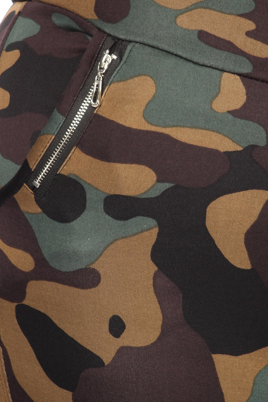Close up of Brown Camouflage High Waisted Plus Size Treggings with Zipper Accent Pockets