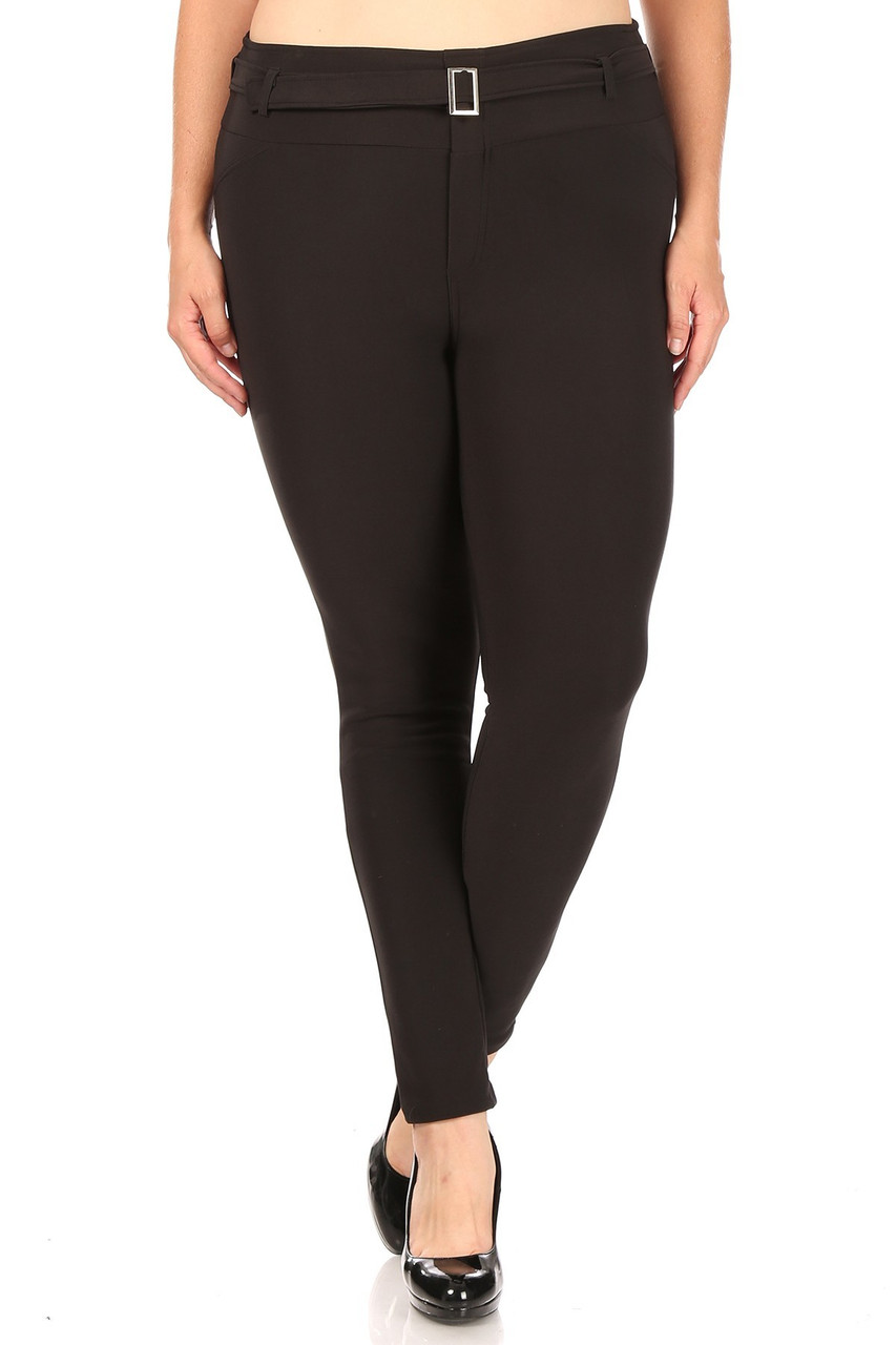 Front of Black Belted Plus Size Treggings with Pockets with a super sleek look and attached belt with square silver hardware.