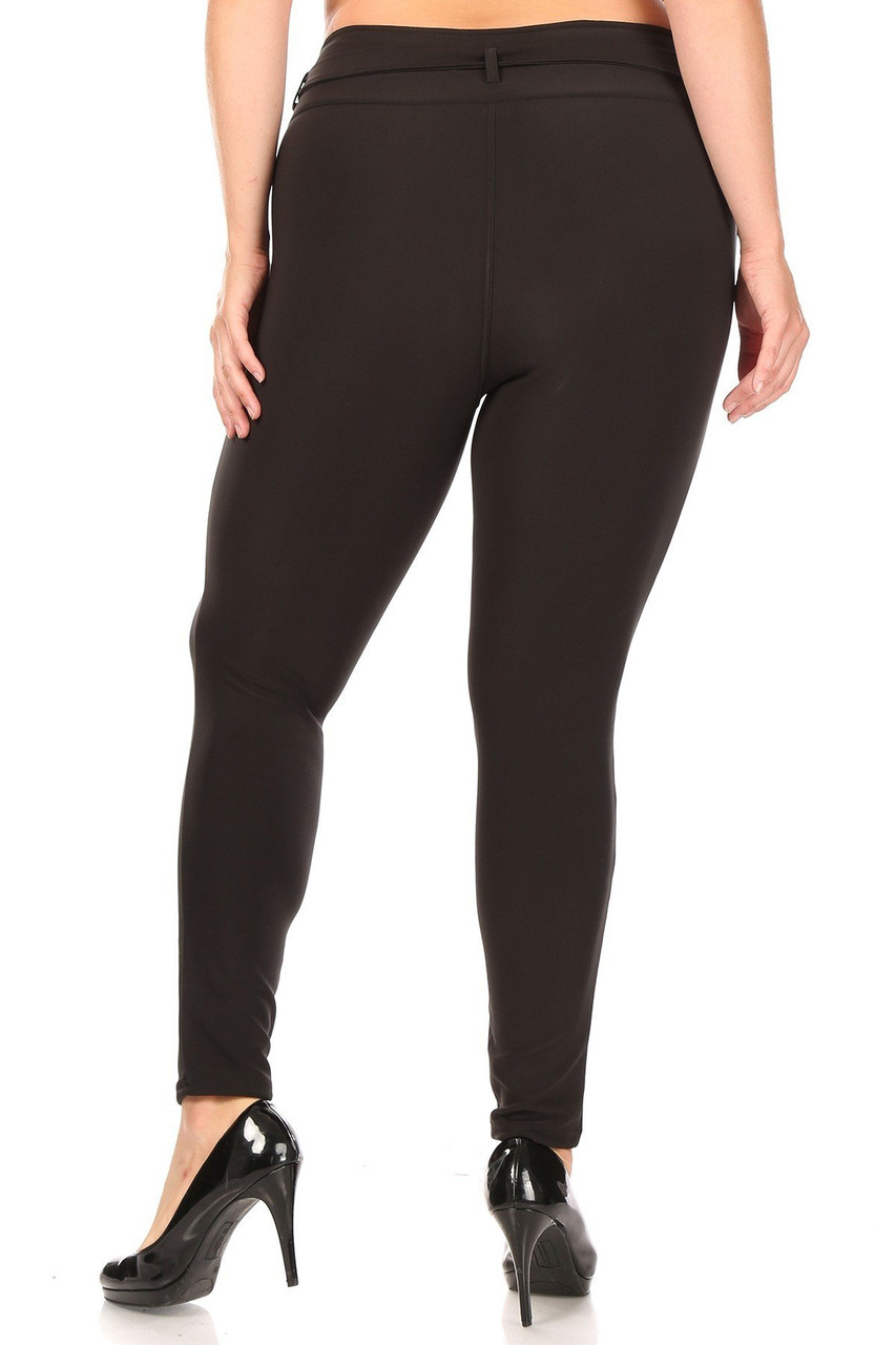 Rear view of Black Belted Plus Size Treggings with Pockets showing off the skinny leg fit.