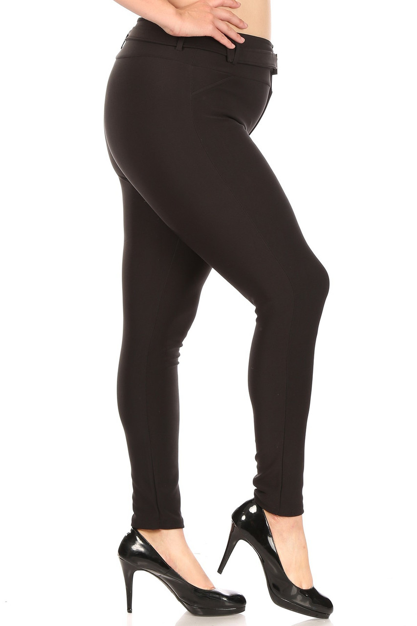 Right side of Black Belted Plus Size Treggings with Pockets